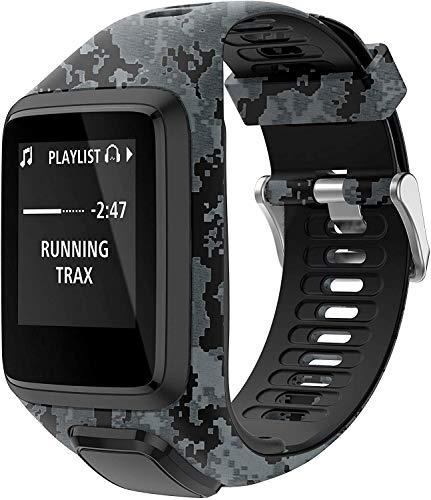 BarRan pulseira compatível com Tomtom Runner 2/3 Strap,compatível com Spark 3/Golfer2/Adventurer,Rubber Printed Replacement pulseira de relógio-GPS Smart Watch Accessories