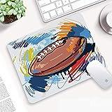 Tapis de Souris Gaming 320 x 250 mm,Sports, croquis de ballon de rugby en forme de diamant avec la ligue d',Surface spéciale améliore la Vitesse et la précision,Base en Caoutchouc Antidérapant Surface