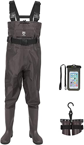 TIDEWE Bootfoot Chest Wader, 2-Ply Nylon/PVC Waterproof Fishing & Hunting Waders with Boot Hanger for Men and Women (...