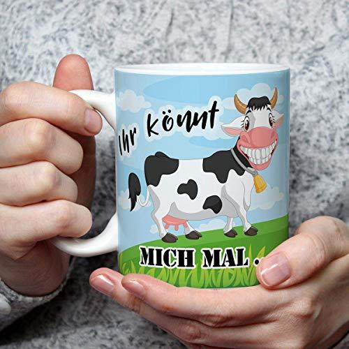 Geschenk Tasse Kuh lustig mit Spruch Ihr könnt mich mal Kuhmotiv Geburtstagsgeschenk für Kuhliebhaber Arbeit Büro Frauen Freundin Kollegin
