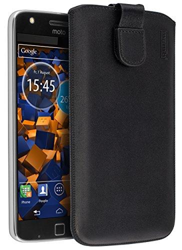 mumbi Echt Ledertasche kompatibel mit Lenovo Moto Z Play Hülle Leder Tasche Case Wallet, schwarz