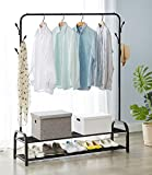 Vivo Heavy Duty Metal Clothes Hanging Rail and 8 Hook Clothing Coat Dress Shirt Garment Stand with Double Shoe Rack Shelf