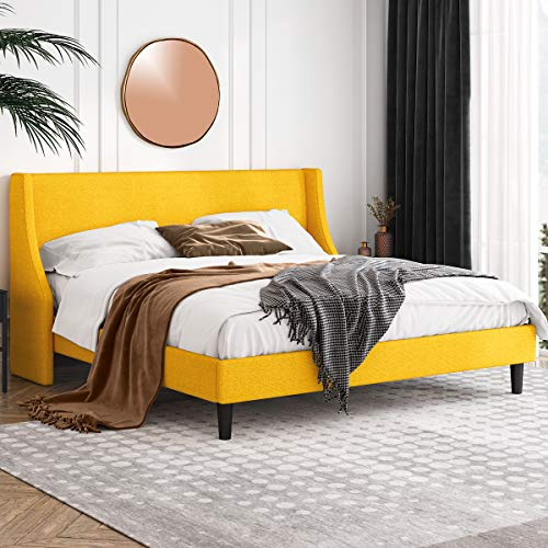 Einfach King Size Platform Bed Frame with Wingback Headboard / Fabric Upholstered Mattress Foundation with Wooden Slat Support, Light Yellow