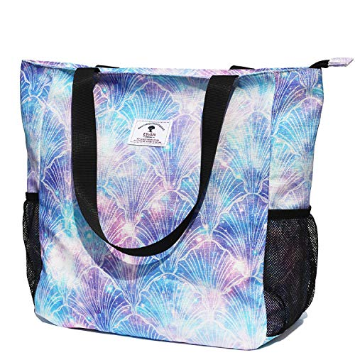 Original Floral Water Resistant Large Tote Bag Shoulder Bag for Gym Beach Travel Daily Bags Upgraded ([Z] Pearl Shell)