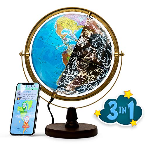 """SJSMARTGLOBE with Interactive APP & LED Illuminated Constellations at Night, US-Patented STEM Education 10"""" World Globe with Detailed map"""