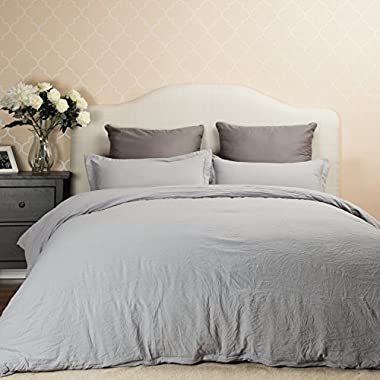 Bedsure Duvet Cover Set with Zipper Closure Solid Grey King Size(104 x90 )-3 Pieces (1 Duvet Cover + 2 Pillow Shams) Ultra Soft Hypoallergenic Microfiber …