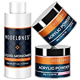 Modelones Professional Acrylic Powder Set Crystal Clear and Lovely Pink Acrylic Powder 2 oz Monomer Liquid 4 oz for Nail Extension Acrylic Nails MMA Free Liquid