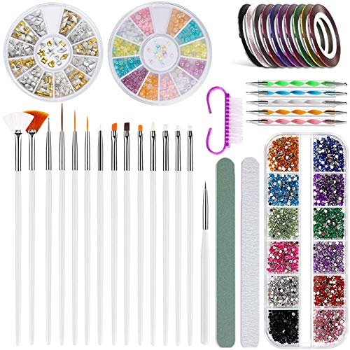 Nageldesign Zubehör, 15 x Nail Art Painting Pinsel Set für Nailart, 5 Dotting Detailing Pen, 3 x Color Rhinestones, 10 x Farben rollt Streifenband, Schleifstange Polierstange Bürste Nagel Dekoration