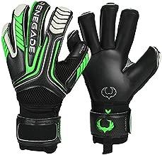 Renegade GK Vulcan Abyss Goalie Gloves with Pro-Tek Finger Spines | 3.5+3mm Hyper Grip & 4mm Duratek | Black & Green Soccer Goalkeeper Gloves (Size 7, Youth, Roll Cut, Level 3)