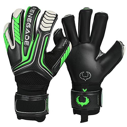 Renegade GK Vulcan Abyss Goalie Gloves with Pro-Tek Fingersaves | 3.5+3mm Hyper Grip & 4mm Duratek | Black & Green Soccer Goalkeeper Gloves (Size 6, Youth, Kids, Roll Cut, Level 3)