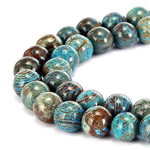 Preciosa piedra natural de ágata de encaje azul, cuentas sueltas redondas lisas de 40 cm para hacer joyas, 8 mm
