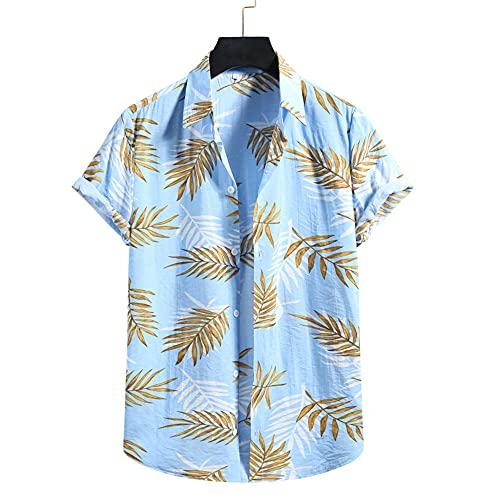 Camisa Hombre Verano Vacaciones Casual Hawaii Camisa Hombre Manga Corta Moda Imprimir Natación Surf Hombres Playa Camisa Deporte Ligero Transpirable C-003 XL