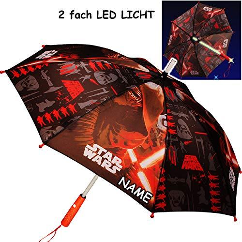 alles-meine.de GmbH Kinderschirm / Regenschirm _ LED Licht Farbwechsel + Taschenlampe _ Star Wars - inkl. Name - Ø 85 cm - groß / Stockschirm mit Griff - Kinder - Automatikregens..