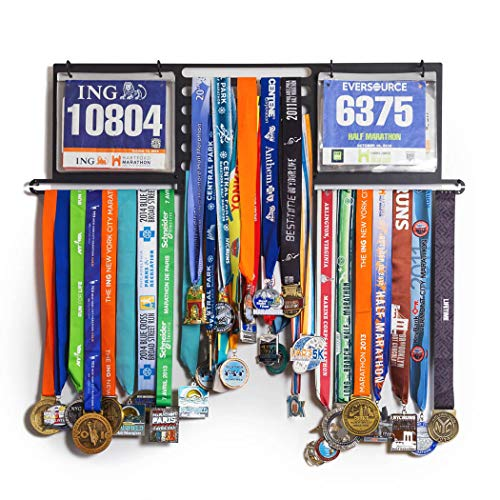 Deluxe BibFOLIO+ Race Bib & Medal Display | Wall Mounted Medal Hanger | Display Over 100 Medals & 200 Race Bibs