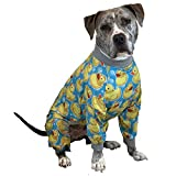 Tooth and Honey Pit Bull Pajamas/Rubber Duck Print/Lightweight Pullover Pajamas/Full Coverage Dog pjs/Yellow with Grey Trim (XXL)