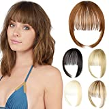Leterly Clip in Bangs Hair Extensions Fringe Natural Flat Neat Wispy Bangs Straight Clip-on Hairpieces Dark Brown Mix Light Auburn