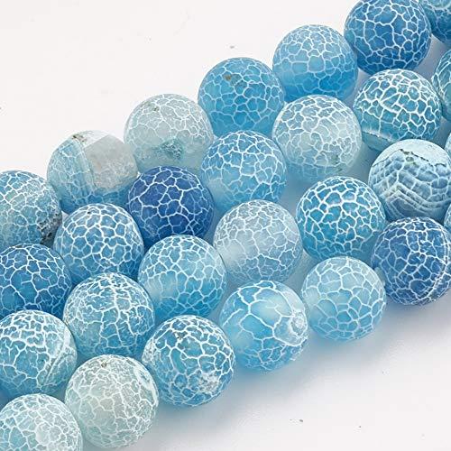 Cadena de cuentas de piedra emperador natural de 8 mm, varios colores, accesorios de cuentas, cuentas redondas sueltas para bisutería (47-50 unidades/hebra), Piedra natural, Ágata.Azul