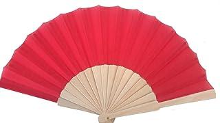 Libetui Roter Handfächer Stoff mit Holzgriff Fächer Rot für heiße Sommertage Feste Party Hochzeit Saunafächer Hochzeitfächer Farbe Rot