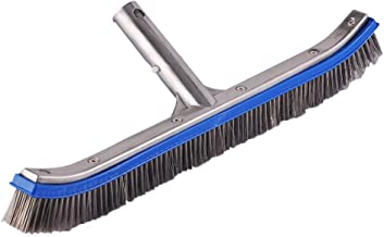 Daveyspa Heavy Duty 18'' Aluminum Swimming Pool Brush Stainless Steel Wire Bristle Pool Brush for Walls,Tiles & Floors Curved Cleaning Brushes