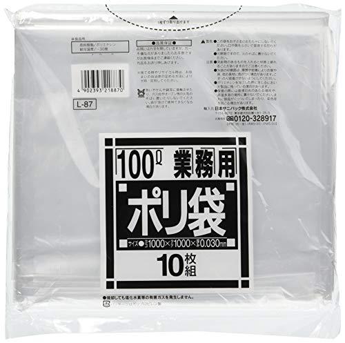 日本サニパック ゴミ袋 ポリ袋 業務用 超大型 透明 100L 10枚入り ごみ袋 L-87
