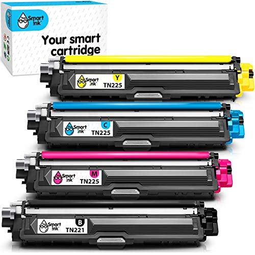 Price comparison product image Smart Ink Compatible Toner Cartridge Replacement for Brother TN221 TN225 TN-221 TN-225 (1 Black,  C / M / Y 4 Combo Pack) to use with HL-3140CW HL-3170CDW HL-3180CDW MFC-9130CW MFC-9330CDW MFC-9340CDW
