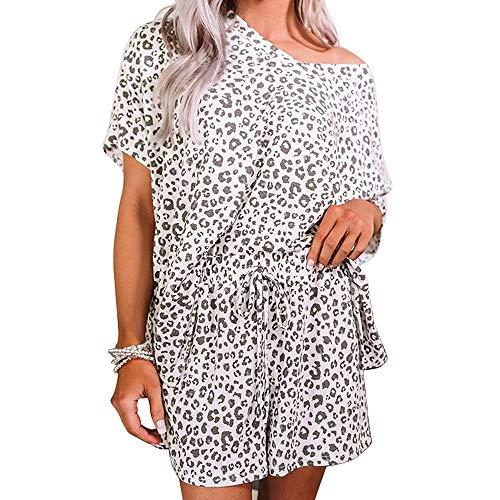 Las Mujeres Coloridas Tie-dye, Manga Corta+Pantalones Cortos Verano Labio/Estampado Leopardo V Cuello Pijamas Ropa de Dormir Pantalones Cortos Conjunto A-leop XL