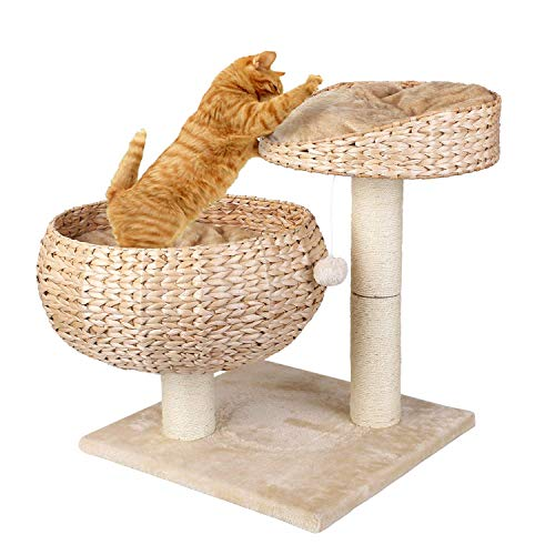 pedy Katzenbett Stabiler Kratzbaum mit Kratzbett Robuster Kletterbaum für Katzen Katzenkratzbaum Katzenmöbel Katzenturm beige,mit 2 Kissen/Korb