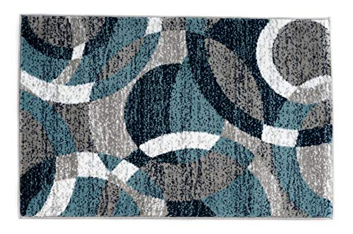 Rugshop Contemporary Modern Circles Abstract Area Rug 2′ x 3′ Blue