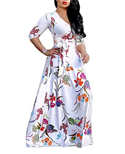 shekiss Women's Sexy V Neck Long Sleeves Floral Print Loose Maxi Casual Stretch Long Dress With Belt Flowerwhite8660 Large