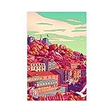 Cartoon City Illustration Lissabon Leinwand Poster