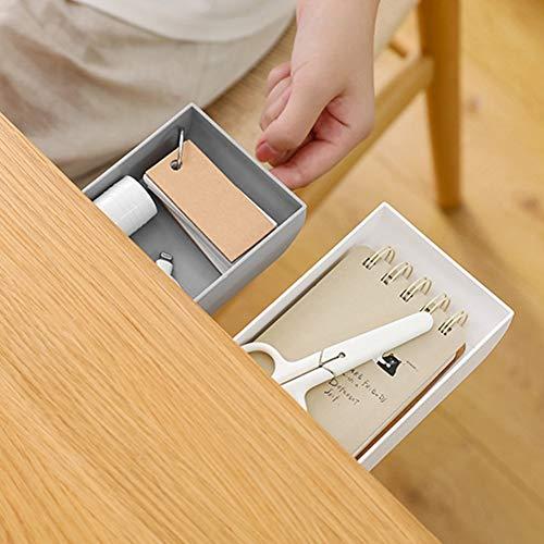 Adecuado bajo el organizador de escritorio de pasta, organice 1L 3.5 x 9 x 22.3cm Caja de pull con plástico ABS (blanco)