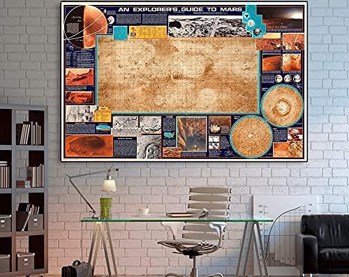 MG global Mars Poster.An Explorer's Guide To Mars, 1986, Planet Mars Map, Marte Wall Art, Exploración Espacial, Planetas, Arte de Pared sin Marco