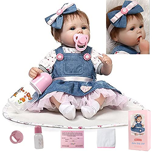 ZIYIUI Muñecos Bebé Reborn Niña 17 Pulgadas 45cm Silicona Suave Vinilo Vida Real Realista Juguetes para Bebés Recién Nacidos Boca Magnética Mejores Bebes Reborn Dolls