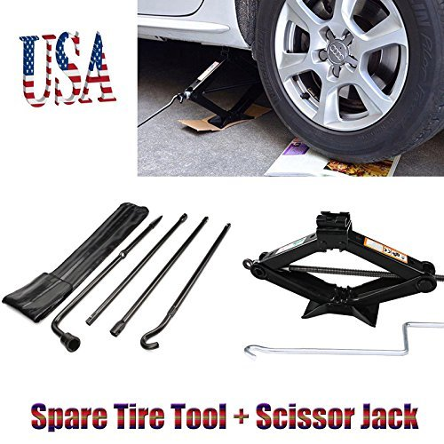 Autobaba Spare Tire Tool Kit Tire Changing Repair Kit and 2T Scissor Jack with Speed Handle for Ford F150 2004-2014