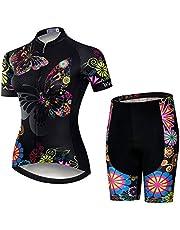 GET Conjunto de Maillot de Ciclismo para Mujer, Trajes de Ciclismo de Secado RáPido para Bicicleta de Verano Top de Ciclismo MTB Transpirable + Babero Acolchado 9D (Color : C, Talla : M)