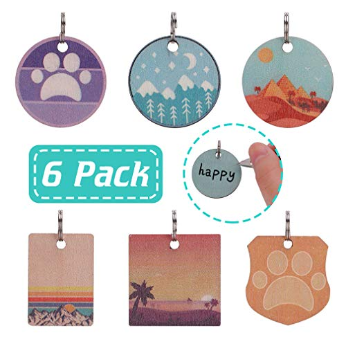 Pet ID Tags for Dogs & Cats - 6 Pack Cute Wooden Lightweight Collar Necklace Pendant, Personalized Pet Charms with Kinds of Patterns, Perfect for Decoration and Outdoor Walking