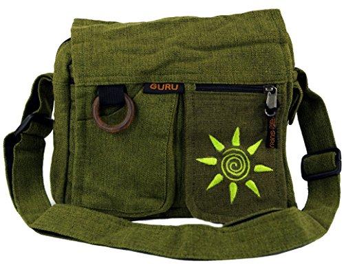 GURU SHOP Schultertasche, Hippie Tasche Sonne - Grün, Herren/Damen, Baumwolle, Size:One Size, 25x25x7 cm, Alternative Umhängetasche, Handtasche aus Stoff