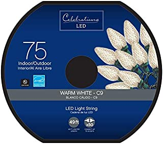 Celebrations 47735-71 C9 Led Light Bulbs On A Reel, 49', Warm White