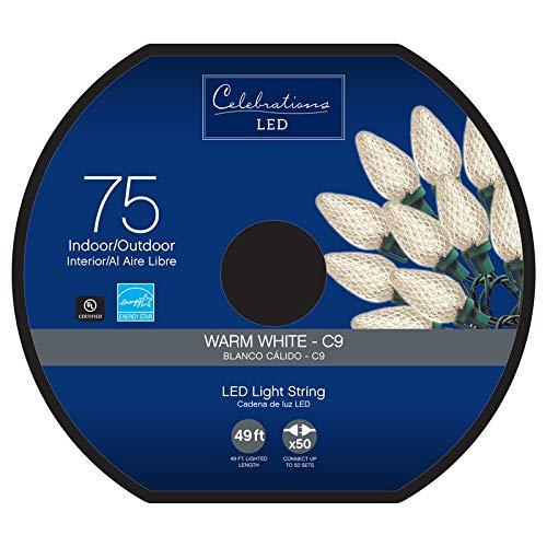 Celebrations 47735-71 C9 Led Light Bulbs On A Reel, 49', Warm White