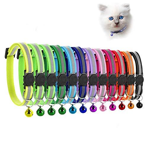 MAIYADUO Collare per Gatto Riflettente con Campanella, Sicuro, Nylon, Colori Misti, Collare per Animale Domestico, Collare Rimovibile per Gatto (12)