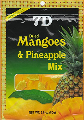 7D Dried Mangoes & Pineapple Mix 80g (Product of Cebu, Philippines) (1 pack)