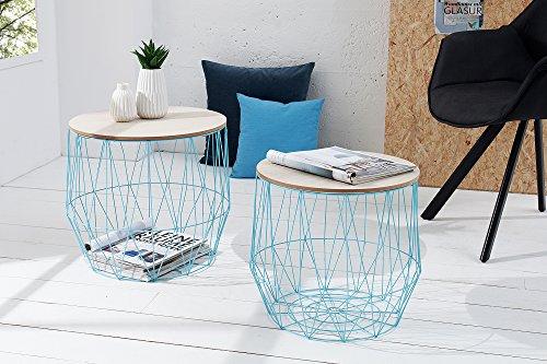 DuNord Design salontafel salontafel Arezzo blauw eiken bureau plank mand metalen ronde set van 2