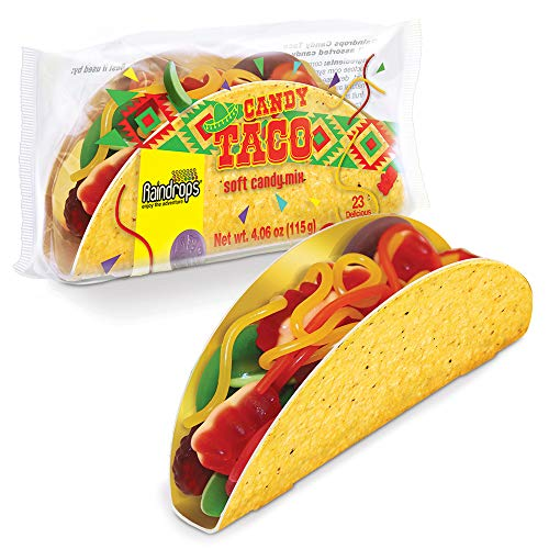 Raindrops Gummy Candy Taco with 23 Gummy Candies in a Taco Shell - Yummy Gummy Food that Looks Just Like a Taco - 4 Ounces of Gummy Bears, Fruit, Vegetables, Ropes and More - Unique and Edible Gift
