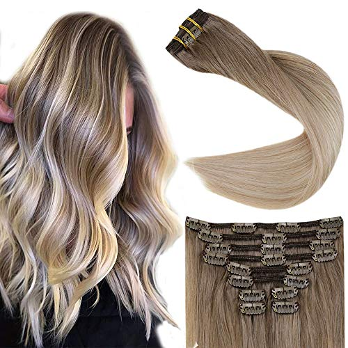Fshine Hair Extensions Clip Ins 18 Inch 10 Pcs Balayage Clip In Hair Extensions Color 8 Fading to 60 And 18 Blonde Highlighted Real Hair Clip In Extensions 100 Grams Remy Human Hair