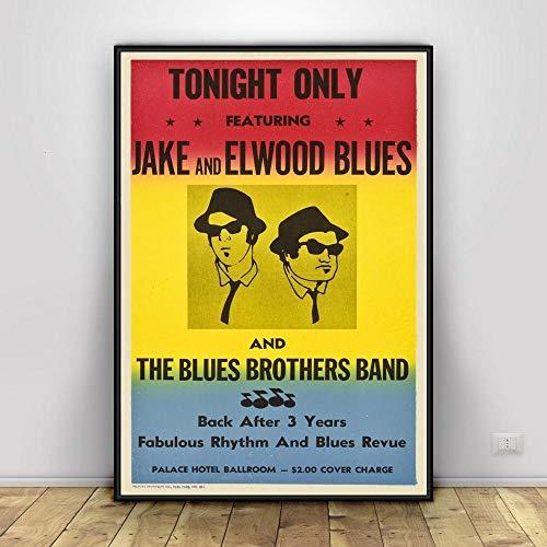 Flduod Vintage Blue Brothers Poster Print Film TV-Serie Klassische Leinwand Ölgemälde Kunst Wandbilder für Wohnzimmer Home Decor-No Frame 40x50cm