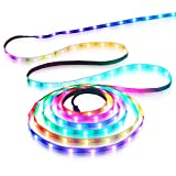 Aclorol WS2812B LED Strip Light 30 Pixels/M Individually Addressable Programmable Dream Color 16.4ft 150 5050 RGB SMD Pixels White PCB 5V Non-Waterproof Work with Arduino, FastLED Library & Raspberry