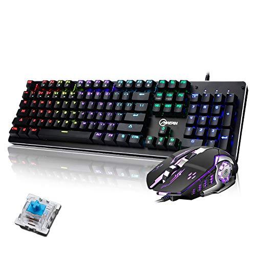 Guanwen Mechanisch Gaming Toetsenbord, Blauwe Schakelaar Mix Backlit Metaal Ergonomisch Bedraad USB-toetsenbord +3200DPI 4-kleuren Ademhaling Backlit Mouse voor PC Computer, Zwart