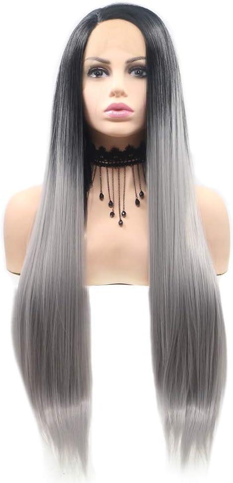 Qingbaotong Wigs Black - Linen Handma Wig Gradient Austin Mall Gray SALENEW very popular! Ladies