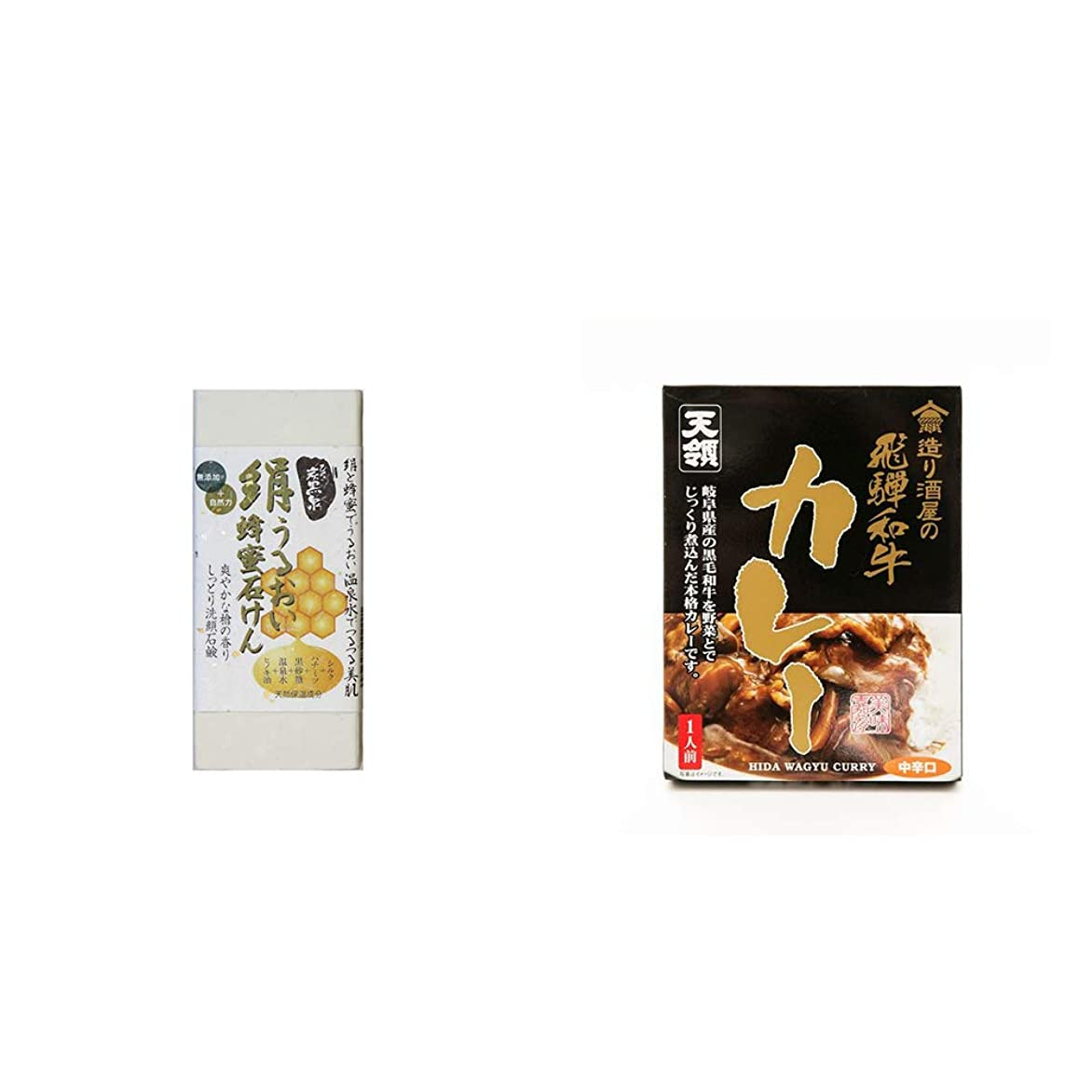 ダーリンなすウォーターフロント[2点セット] ひのき炭黒泉 絹うるおい蜂蜜石けん(75g×2)?造り酒屋の飛騨和牛カレー【中辛】 (1食分)