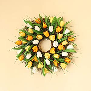 Boddenly Artificial Spring Wreaths for Front Door Flower Wreath Farmhouse Decor Floral Tulip Wreath Summer Ornaments Spring Decorations Festival Front Door Window Decoration (15.75 Inch)